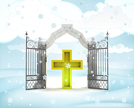 xmas gate entrance with golden cross in winter snowfall illustration illustration
