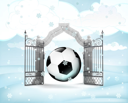 xmas gate entrance with ball gift in winter snowfall illustration illustration