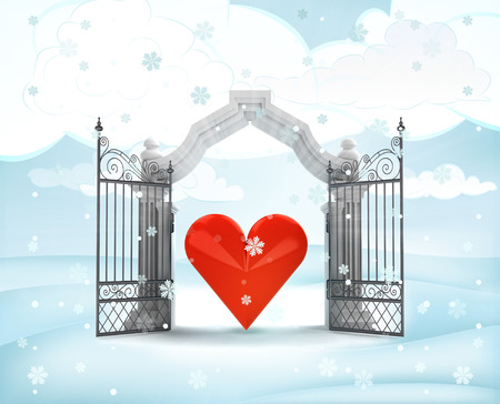 xmas gate entrance with heavenly love in winter snowfall illustration illustration