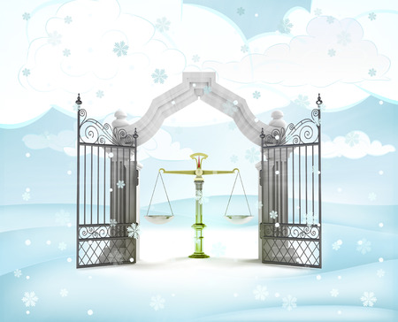 xmas gate entrance with justice weight in winter snowfall illustration illustration