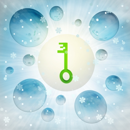 green key solution in bubble at winter snowfall illustration illustration