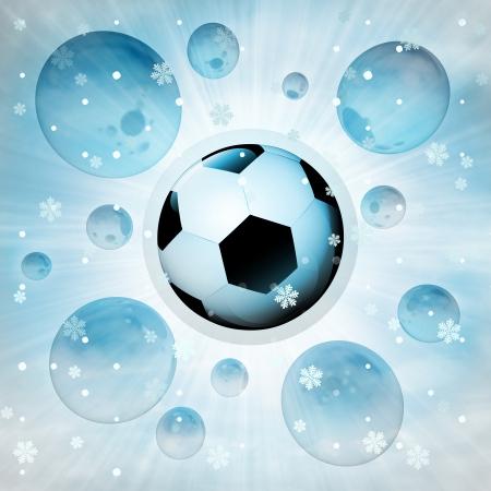 football ball surprise in bubble at winter snowfall illustration illustration