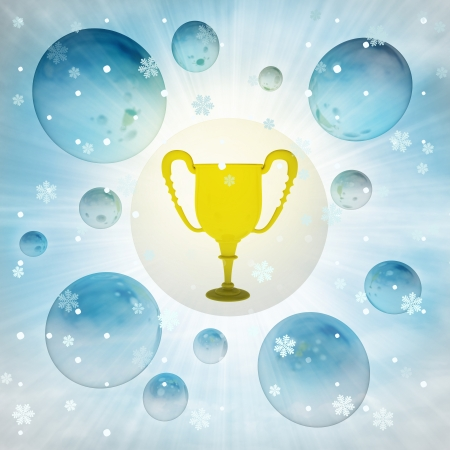 champions trophy in bubble at winter snowfall illustration illustration