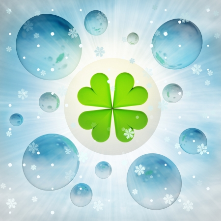 felicity: cloverleaf happiness in bubble at winter snowfall illustration