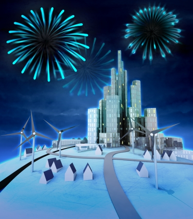 pyrotechnics above modern windmill powered cityscape illustration