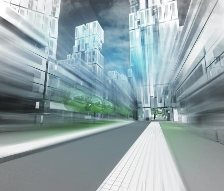 nieuwe moderne visualisatie van de stad van de toekomst in motion blur illustratie Stockfoto