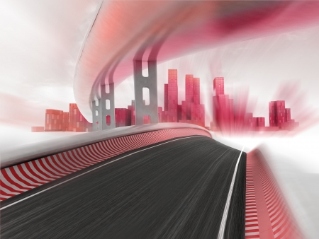race motorways leading to modern city in motion blur render illustration