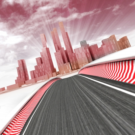 race track leading to modern skyscraper city with sky in sunset render illustration