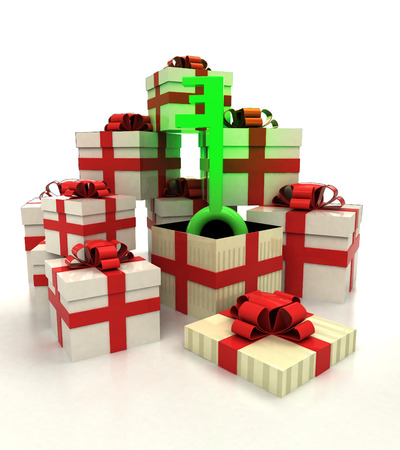 isolated group of christmas gift boxes with green key revelation illustration illustration