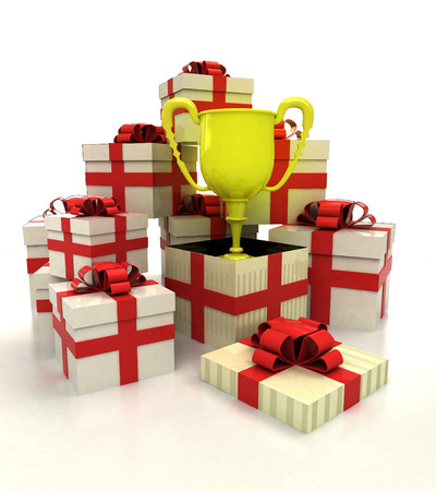 revelation: isolated group of christmas gift boxes with champion cup revelation illustration Stock Photo
