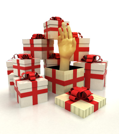 revelation: isolated group of christmas gift boxes with human hand revelation illustration
