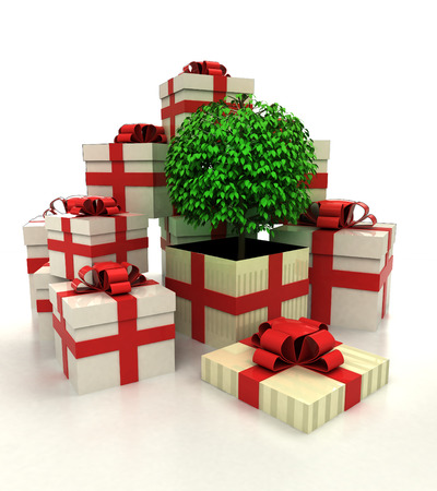 revelation: isolated group of christmas gift boxes with leafy tree revelation illustration Stock Photo