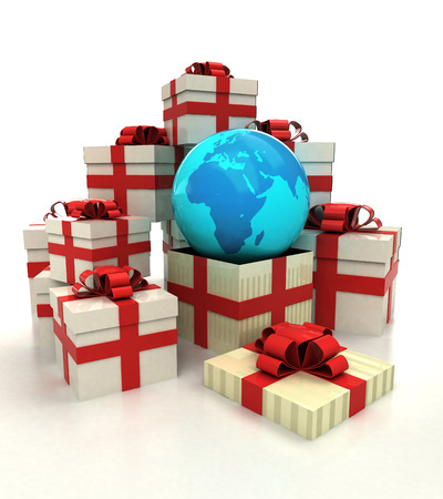 isolated group of christmas gift boxes with Africa earth globe revelation illustration Stock Photo
