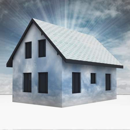 rafter: cloudy house facade with sky flare illustration