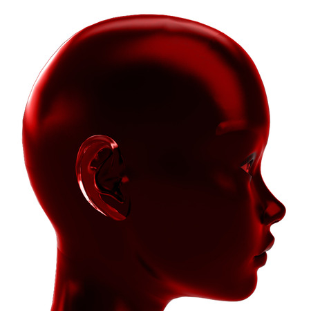 red profile view on human head in calm love emotions illustration illustration