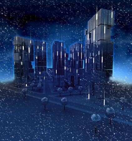 Danger blizzard in dark night over modern business city illustration illustration