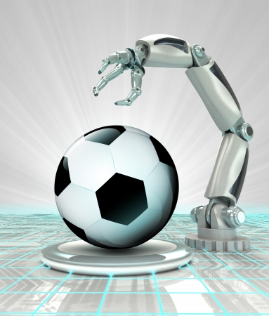 robotic hand creation of cyber sport ball render illustration illustration