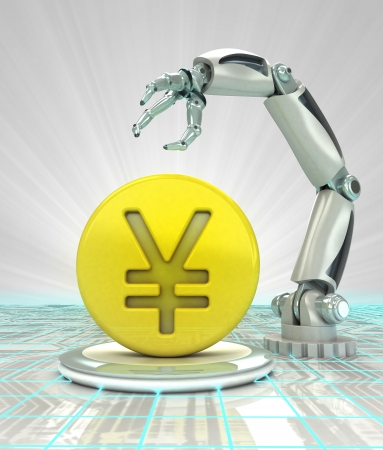 Yuan coin investment to robotic hand use in modern industries render illustration illustration
