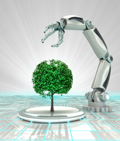 robotic hand creation of new kind of tree render illustration illustration