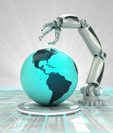 robotic hand creation futuristic industry in american countries render illustration Stock Photo