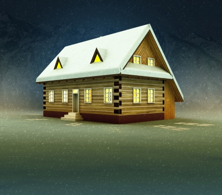 alighted: Mountain house and window lighting at snowy night illustration Stock Photo