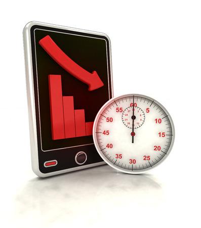 phone time: descending graph time depending stats on smart phone display illustration