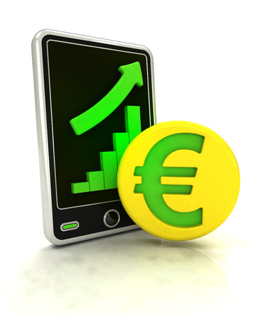 increasing graph stats of euro currency business on smart phone display illustration illustration