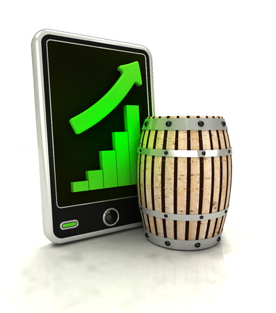 beverage display: increasing graph stats of beverage production on smart phone display illustration