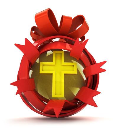 godness: opened red ribbon gift sphere with golden cross inside illustration Stock Photo