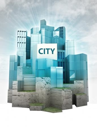 modern city island with sky flare and text render illustration  illustration