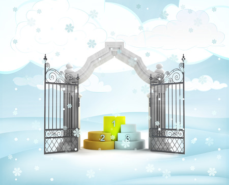 xmas gate entrance with champion podium in winter snowfall illustration illustration