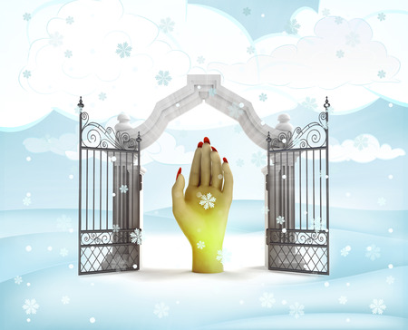 xmas gate entrance with heavenly hand in winter snowfall illustration illustration