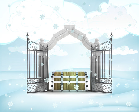 ice chest: xmas gate entrance with magic chest in winter snowfall illustration
