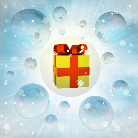 big xmas gift box in bubble at winter snowfall illustration illustration