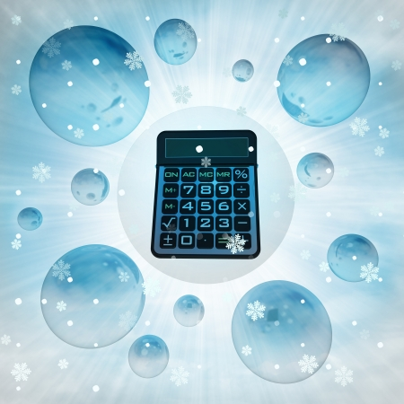 financial year: blue business calculator in bubble at winter snowfall illustration Stock Photo