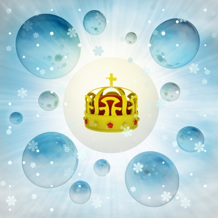 snow queen: golden royal crown in bubble at winter snowfall illustration