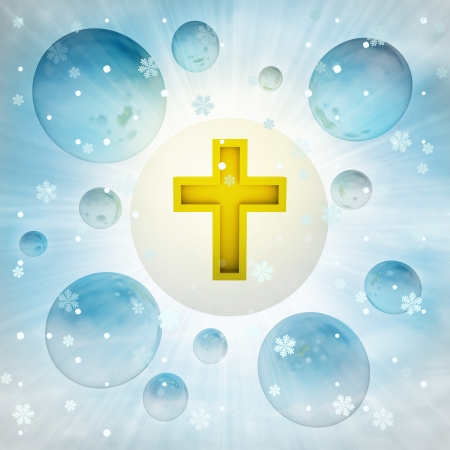 golden holy cross in bubble at winter snowfall illustration illustration