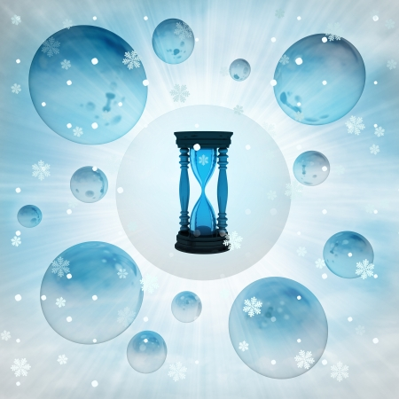 metallic sand glass in bubble at winter snowfall illustration illustration