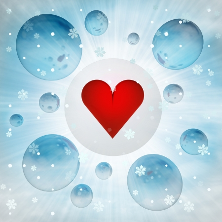red love heart sign in bubble at winter snowfall illustration illustration