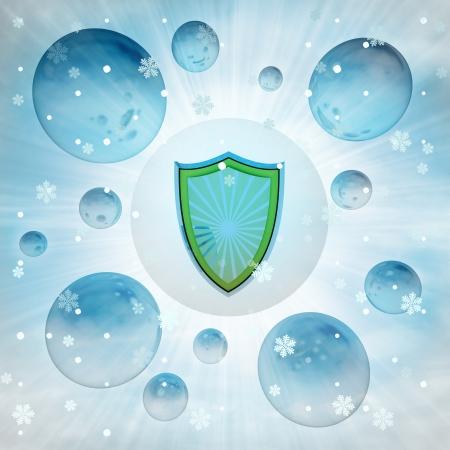 antiviral: antiviral shield in bubble at winter snowfall illustration Stock Photo