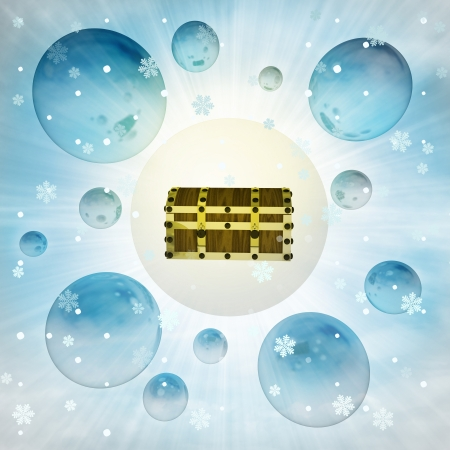 ice chest: magic closed chest in bubble at winter snowfall illustration