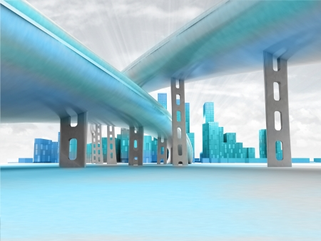 metropole: two highways above ground leading to modern skyscraper city with sky illustration Stock Photo