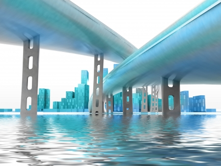 metropole: two highways above water leading to modern skyscraper city island render illustration