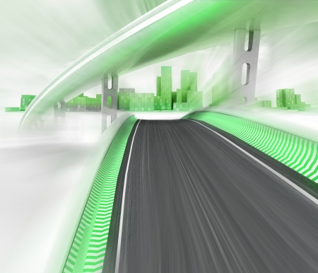 metropole: blurred race tracks leading to ecological skyscraper city render illustration