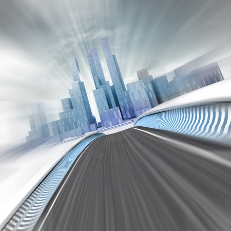 metropole: blurred fast street leading to modern skyscraper city render illustration