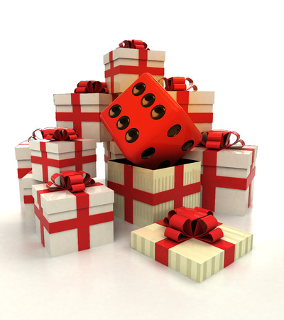 revelation: isolated group of christmas gift boxes with lucky dice revelation illustration