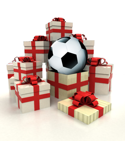revelation: isolated group of christmas gift boxes with soccer ball revelation illustration Stock Photo