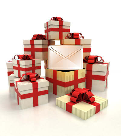 revelation: isolated group of christmas gift boxes with message revelation illustration