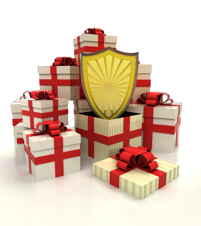 revelation: isolated group of christmas gift boxes with antiviral shield revelation illustration