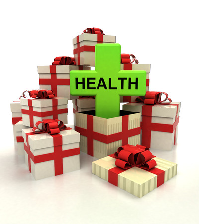 isolated group of christmas gift boxes with health cross revelation illustration Stock Photo